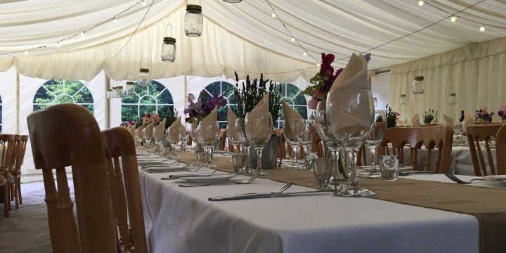 Marquee with hanging lanterns